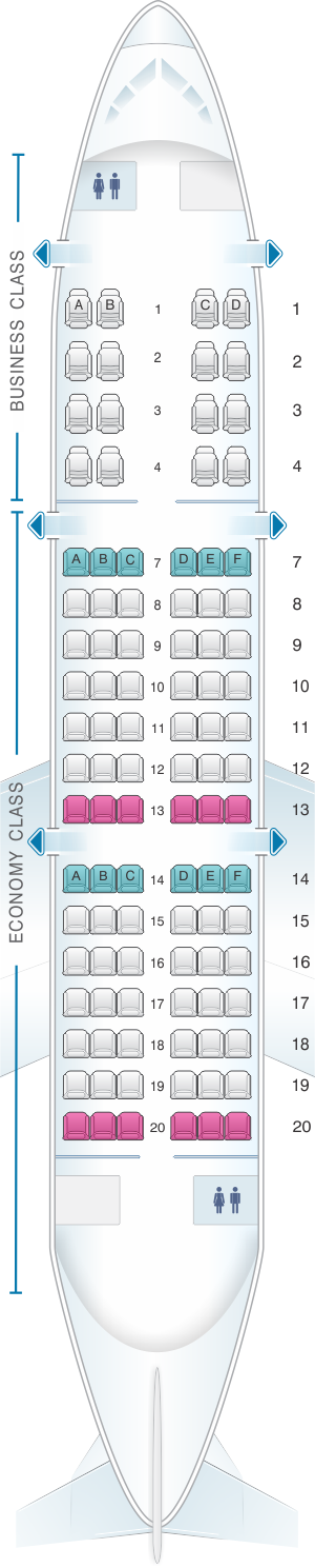 Seat map for Saravia Yak 42 100pax