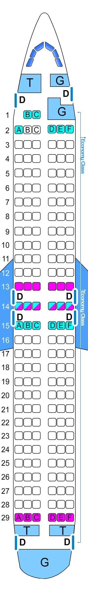 Seat map for Sky Airlines Boeing B737 400 170pax