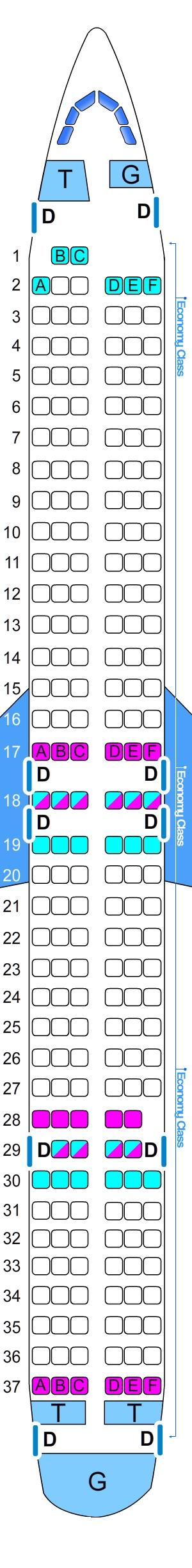 Seat map for Sky Airlines Boeing B737 900 ER