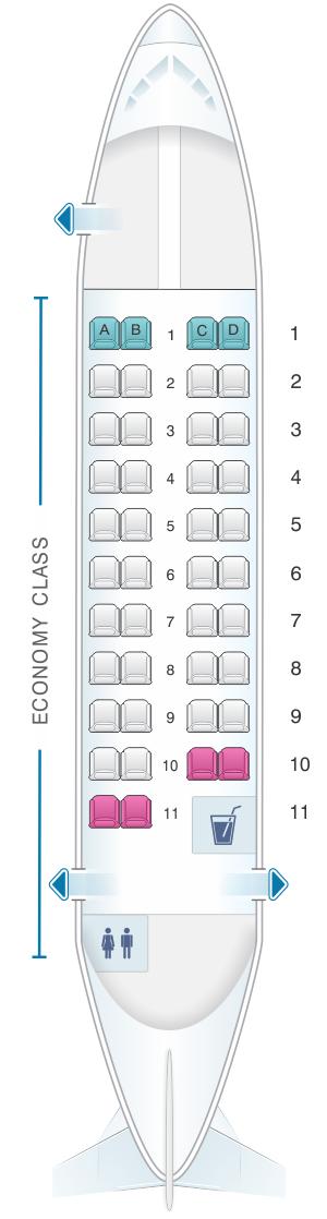 Seat map for Calm Air ATR 42 300 42pax