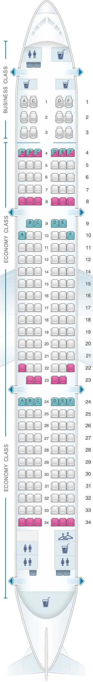 Seat map for Turkish Airlines Airbus A321 200