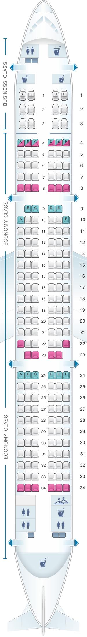 Seat Map Turkish Airlines Airbus A321 200 | SeatMaestro.com