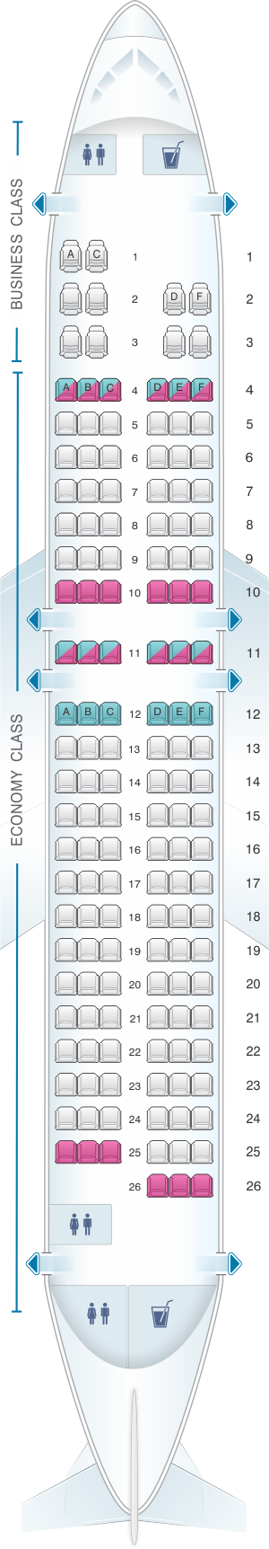 Seat map for Egyptair Airbus A320 232