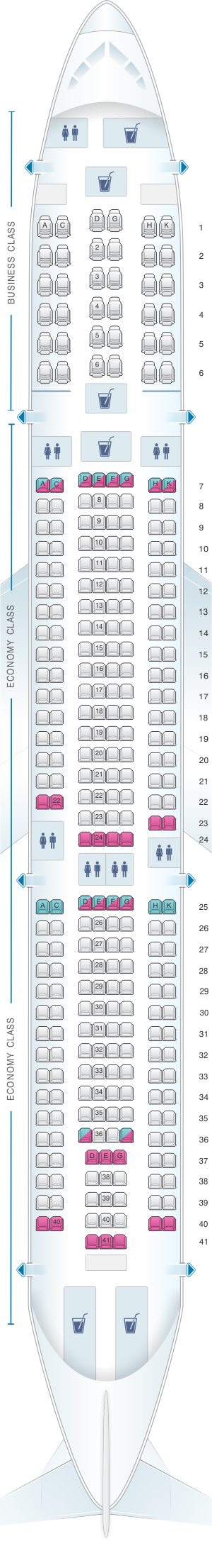 Seat map for Egyptair Airbus A330 300