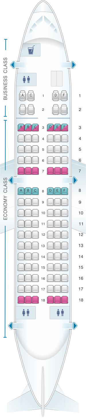 Seat map for Egyptair Boeing B737 500