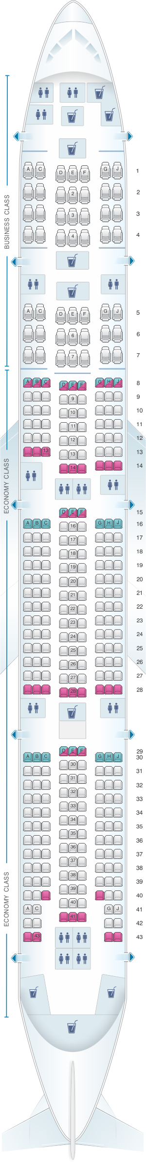 Seat map for Egyptair Boeing B777 300
