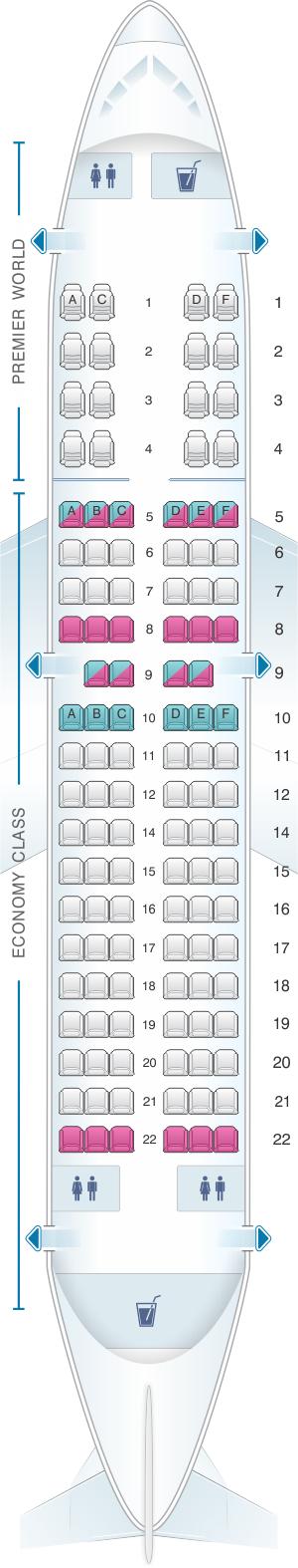 Seat map for Kenya Airways Boeing B737 700