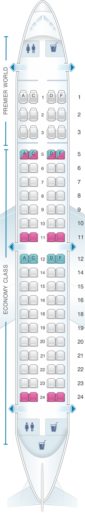Seat map for Kenya Airways Embraer 190AR