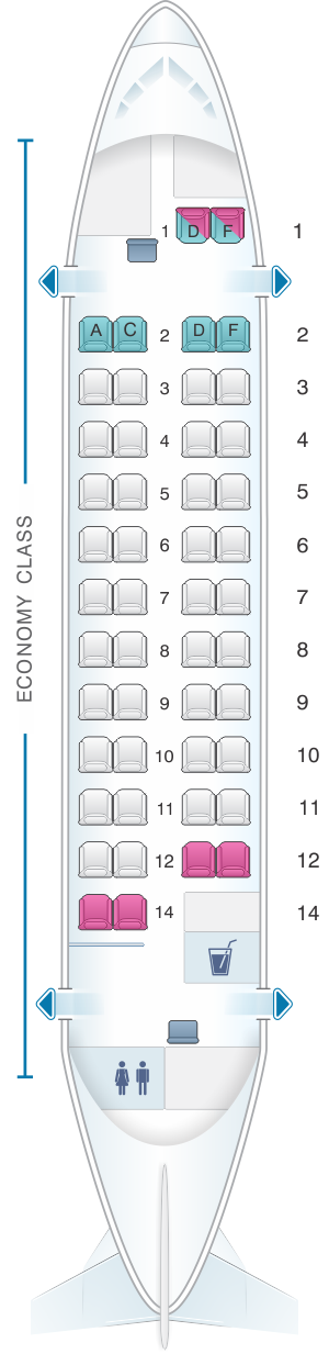 Seat map for Kingfisher Airlines Aerospatiale ATR 42 500