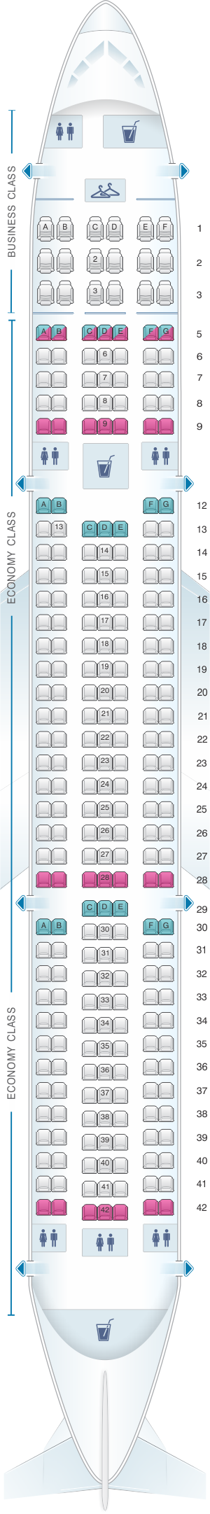 Seat map for MIAT Mongolian Airlines Boeing B767 300