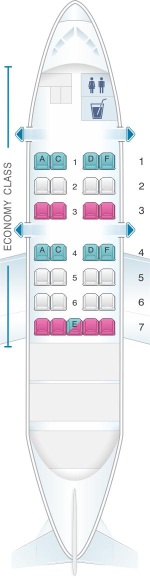 Seat map for SATA Air Açores Bombardier Q200 Config.2