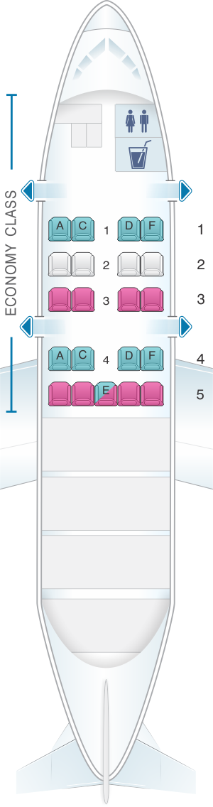 Seat map for SATA Air Açores Bombardier Q200 Config.3