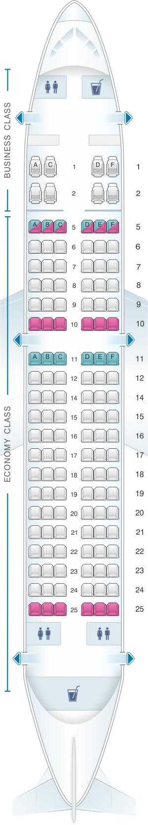 Seat map for SilkAir Airbus A319 100