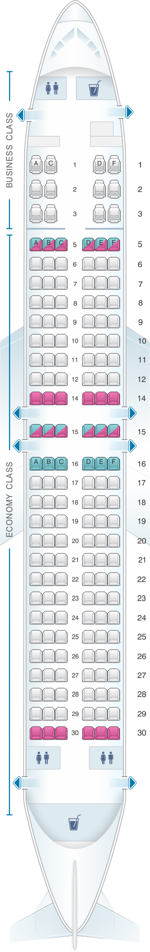 Seat map for SilkAir Boeing B737 800