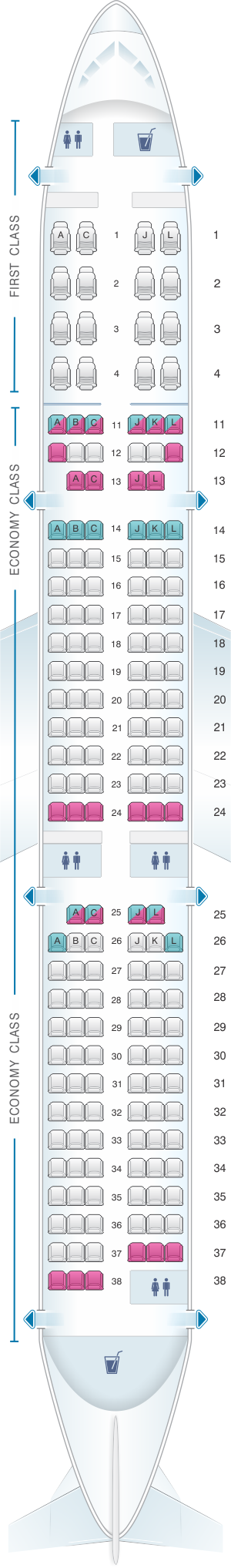 Seat map for Air China Airbus A321 200 Config. 2