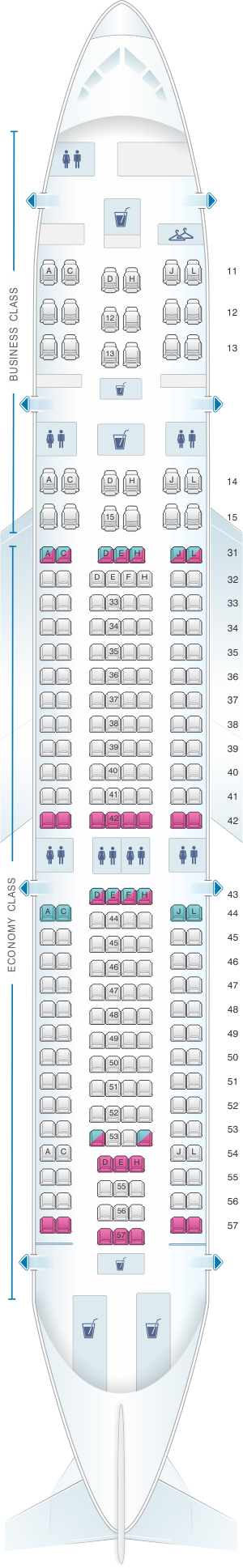 Seat map for Air China Airbus A330 200 (237PAX)