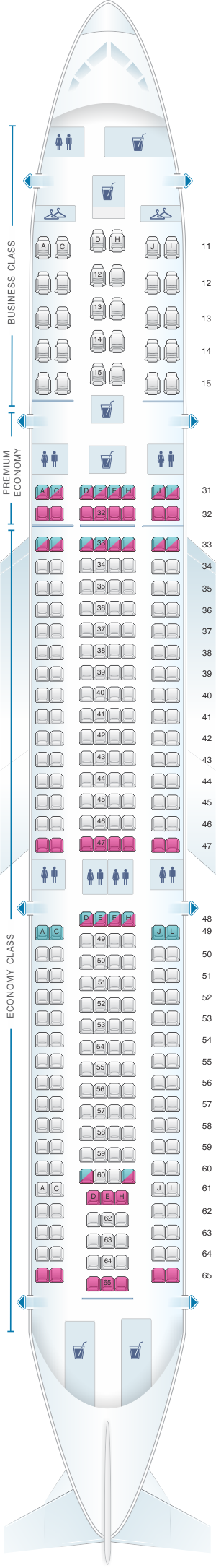 Seat map for Air China Airbus A330 300 (301PAX)