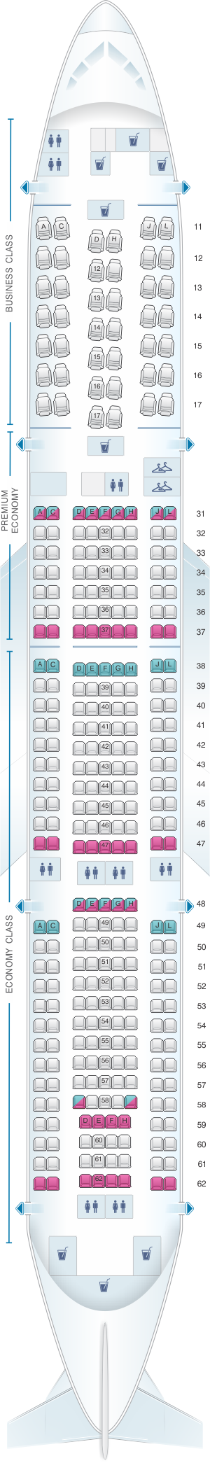 Seat map for Air China Boeing B777 200 (310PAX)