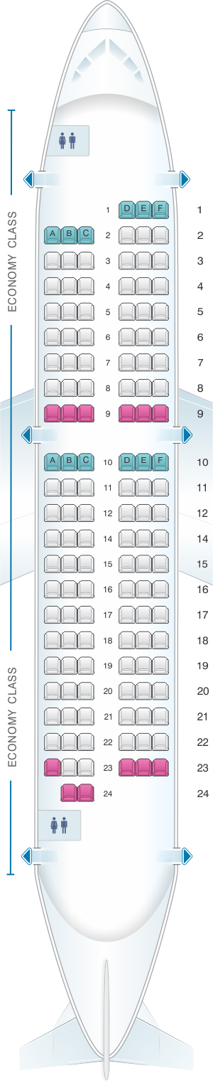 Seat map for Air France Airbus A318 Metropolitan