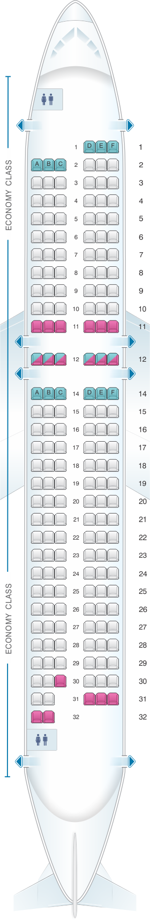 Seat map for Air France Airbus A320 Metropolitan V3