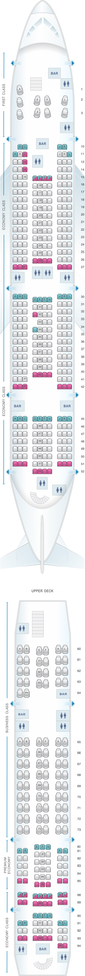 Seat map for Air France Airbus A380 International Long-Haul 516PAX