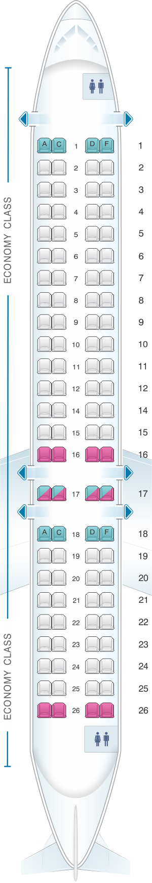 Seat map for Air France Bombardier CRJ 1000