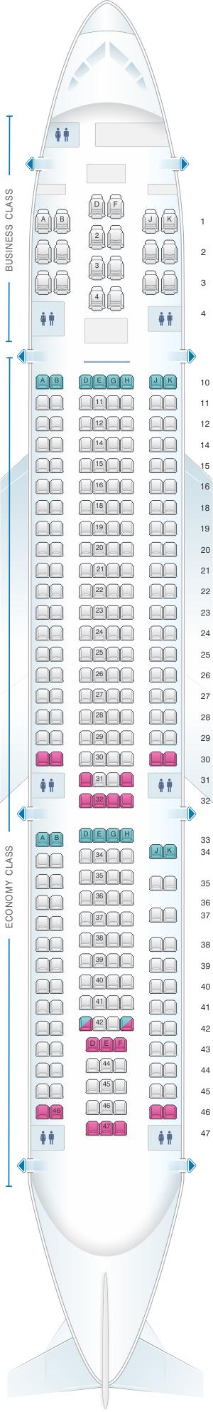 Seat Map Alitalia Airlines Air One Airbus A330 200 283pax Seatmaestro