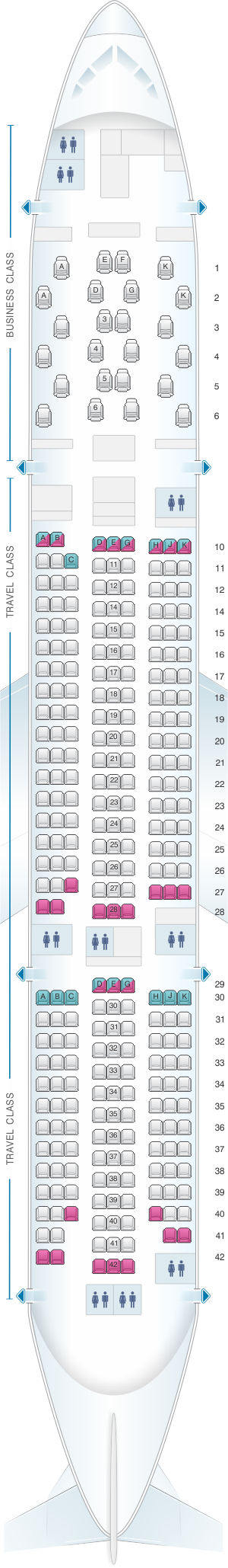 Seat map for Asiana Airlines Boeing B777 200ER 295PAX