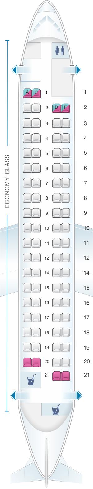 Seat map for Croatia Airlines Dash8 Q400