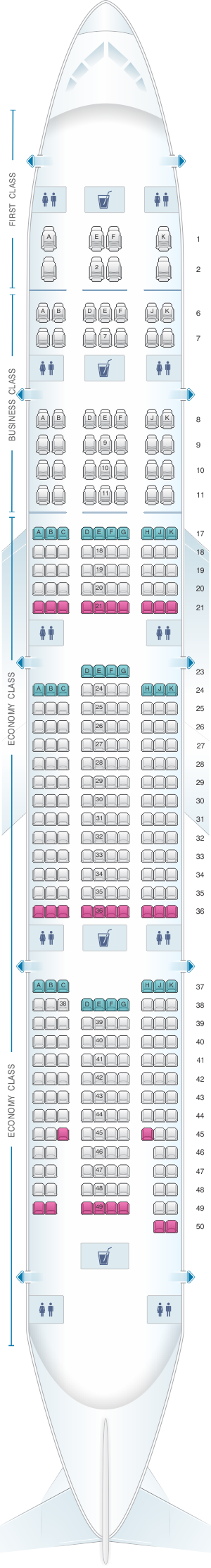 Seat map for Emirates Boeing B777 300ER three class private suite