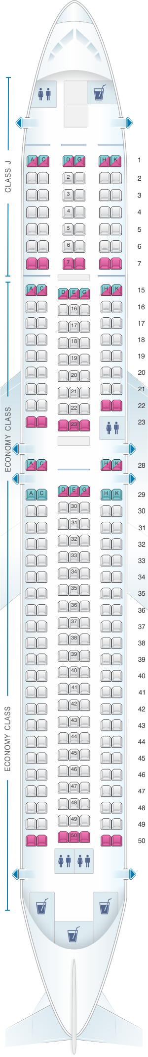 Seat map for Japan Airlines (JAL) Boeing B767 300ER A27