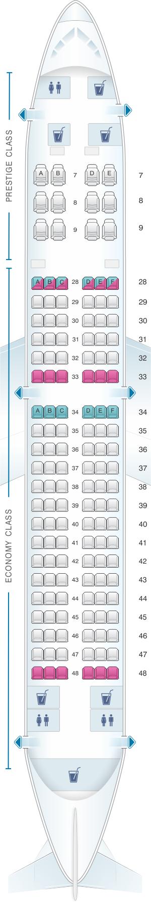 Seat map for Korean Air Boeing B737 800 138PAX