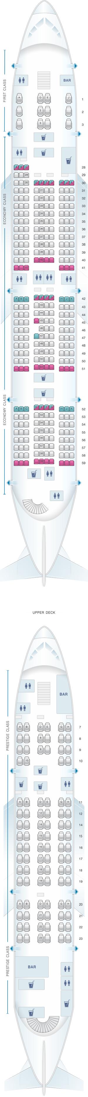 Seat map for Korean Air Airbus A380 800 407PAX