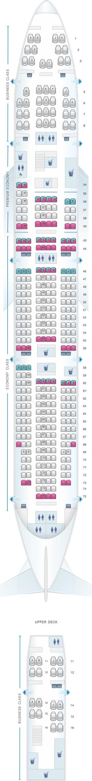 Seat map for Qantas Airways Boeing B747 400 364PAX