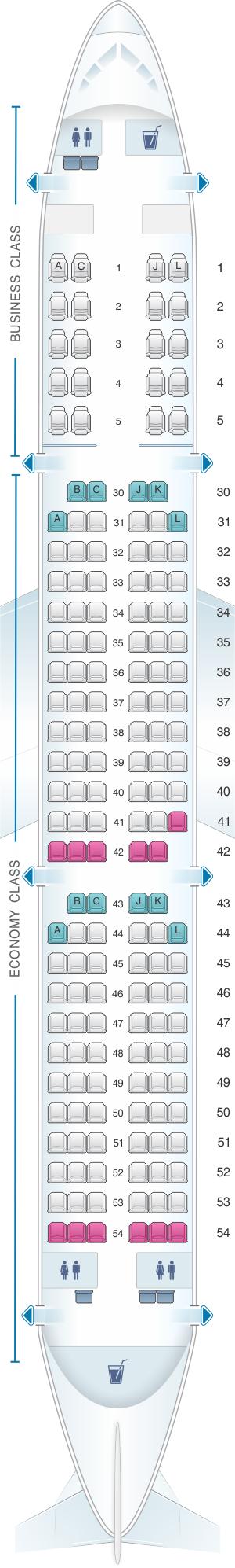 Seat map for Saudi Arabian Airlines Airbus A321