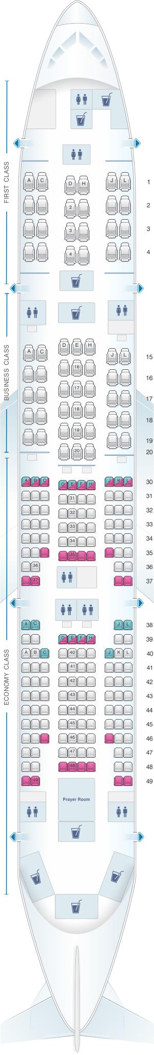 Seat map for Saudi Arabian Airlines Boeing B777 268 (77L)