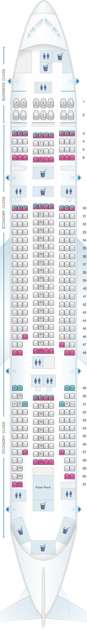 Seat map for Saudi Arabian Airlines Boeing B777 268 (772)