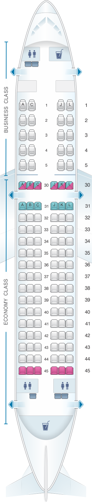 Seat map for Saudi Arabian Airlines Airbus A320 200 Business