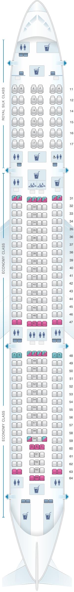 Seat map for Thai Airways International Airbus A330 300 (330/33H)