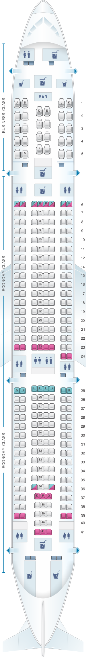 Seat map for Turkish Airlines Airbus A330 300