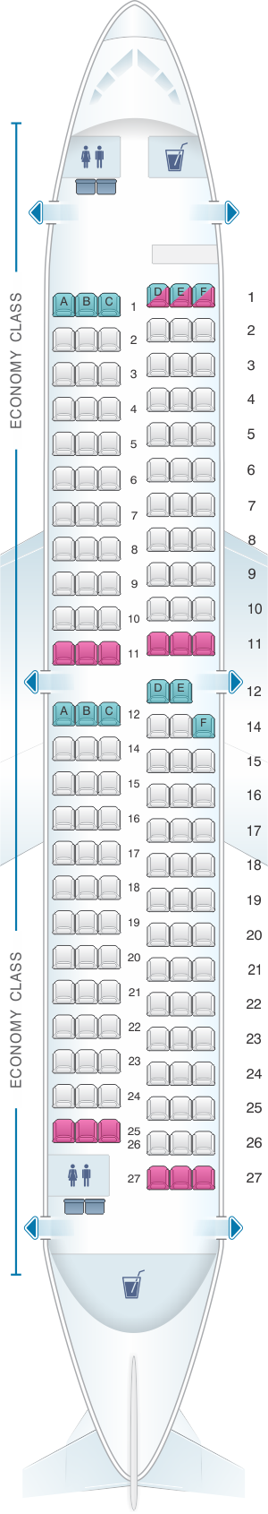 Seat map for Turkish Airlines Boeing B737 700