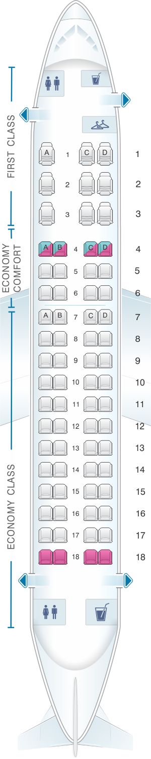 Seat map for Delta Air Lines Embraer E170