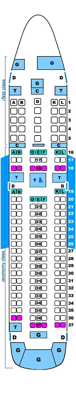Seat map for Continental Airlines Boeing B767 200ER
