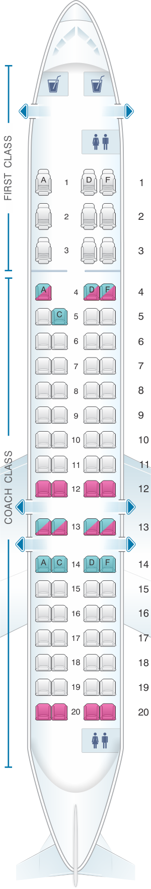 Seat map for US Airways Bombardier Canadair CRJ 900 76pax
