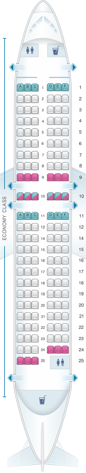 Seat map for Scandinavian Airlines (SAS) Airbus A319