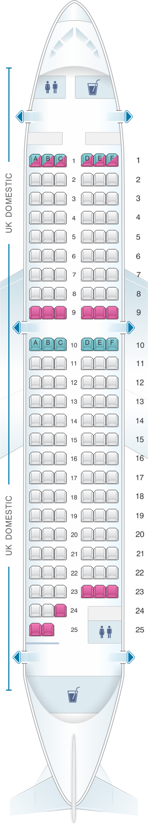 Seat map for British Airways Airbus A319 Domestic Layout