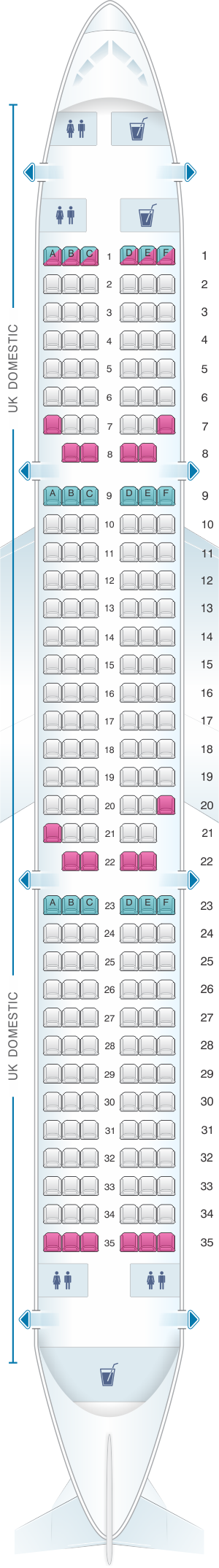 Seat map for British Airways Airbus A321 Domestic Layout