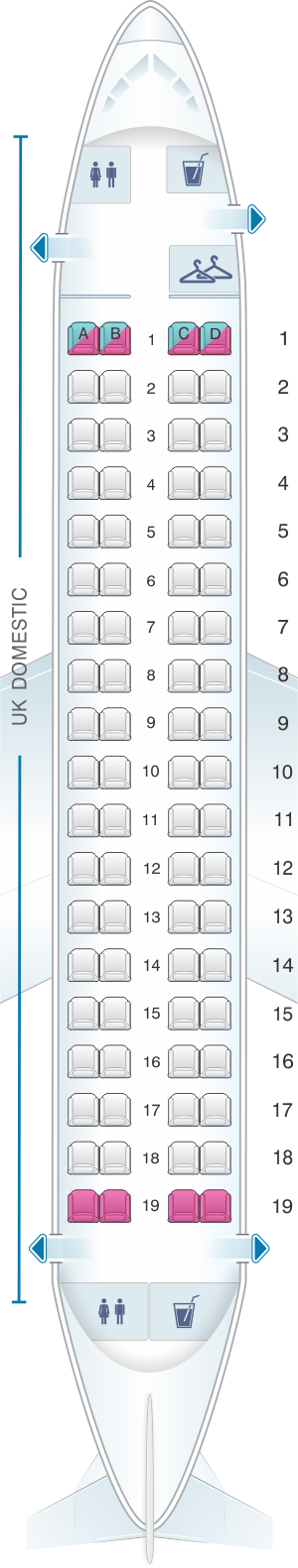 Seat map for British Airways Embraer 170 UK Domestic