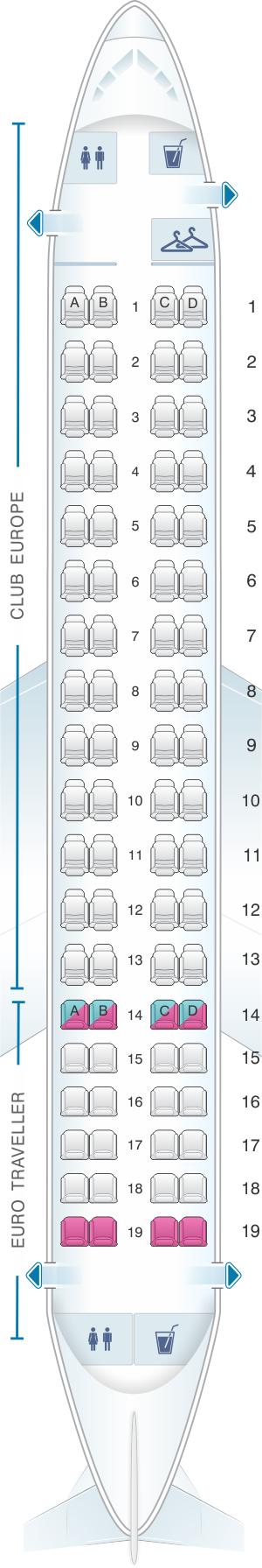 Seat map for British Airways Embraer 170 European