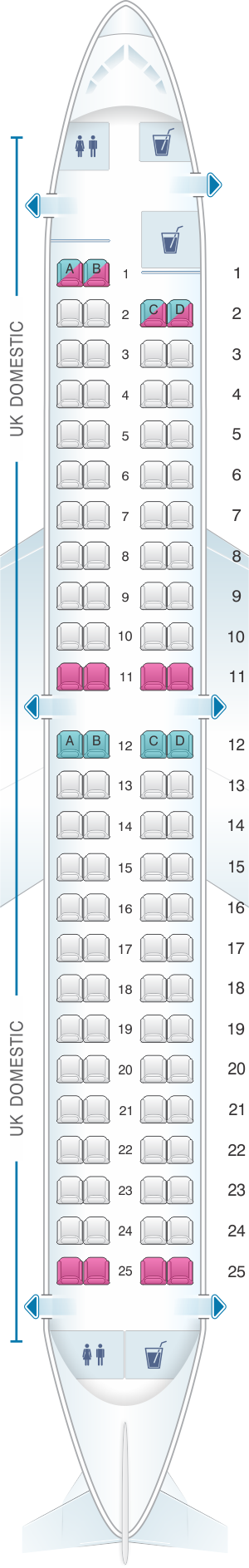 Seat map for British Airways Embraer 190 UK Domestic